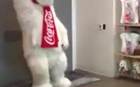 Coca Cola Mascot Loves His Job