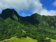 Helicopter Shot of Hawaiian Mountain Range