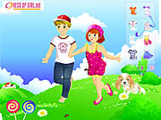 Play Kids couple on field Game