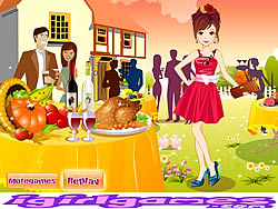 Pretty Thanksgiving Party Girl game