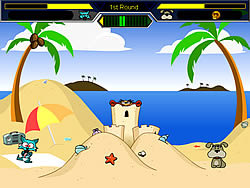 Juega al juego gratis Cat vs Dog at the beach