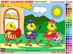 Gioca gratuitamente a Coloring Easter Chicks - Rossy Coloring Games