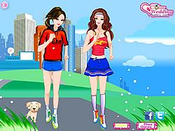 Играть бесплатно в игру Barbie and Ellie Jogging Dressup