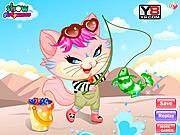 Play Naughty kitten like to go fishing Game