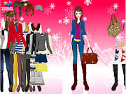 Winter dejected girl dress up